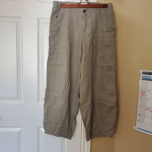 Size 12 Grey Linen Pants with Belt Loops